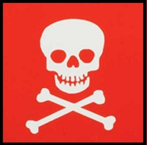 Skull & Crossbones w red background